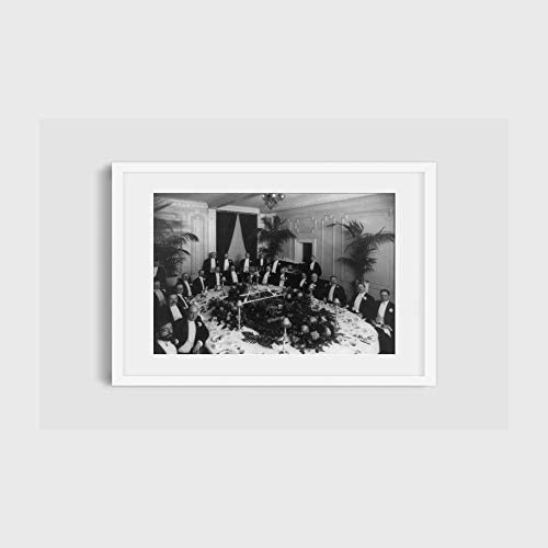 INFINITE PHOTOGRAPHS Photo Men Gathered Around Dining Table Formal Dinner banquets Eating Crowds product image