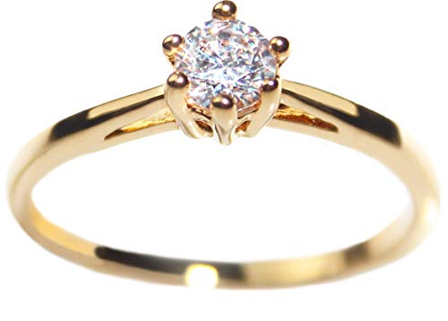 """FREE ENGRAVING! """"One & Only """" Ah! Jewellery 0.62ct Ladies Genuine Gold Filled 4mm Simulated Diamond Solitaire Ring. UK Guarantee: 3µ / 10 years."""