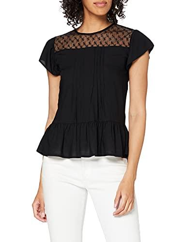 ONLY Damen ONLELLY S/S W. LACE WVN Top, Black, 40