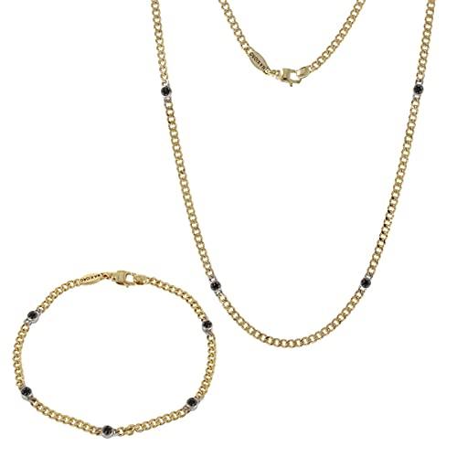 Gioiello Italiano - Parure da uomo in oro giallo 18kt con pietre di spinello, collana e bracciale
