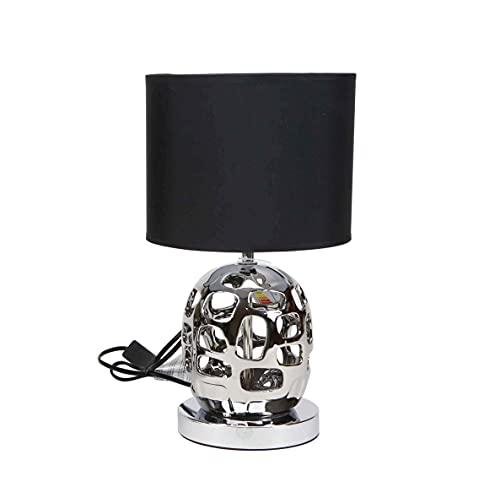 Lámpara de diseño moderno en color plateado o negro y pantalla de tela color negro | Casquillo E14 (Bombilla no incluida) Perfecta para el salón, dormitorio o recibidor. (Plata)