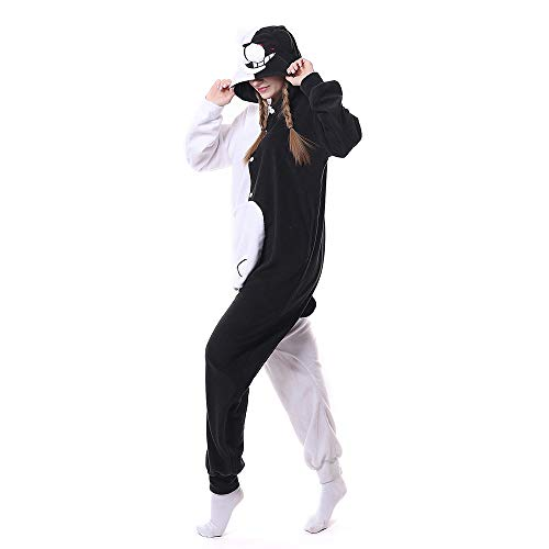 Adult Monokuma Onesie Pajamas Cosplay Animal Homewear Sleepwear Jumpsuit Costume for Women and Men