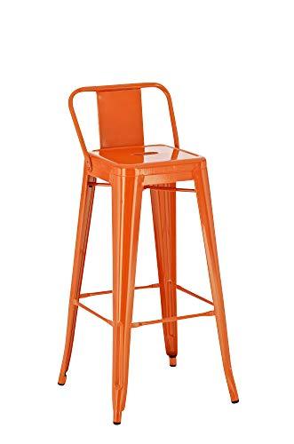 CLP Tabouret De Bar en Métal Mason I Tabouret De Bar Industriel Dossier Et Repose-Pied I Chaise De Cuisine Ou Bar Design Et Confortable Orange