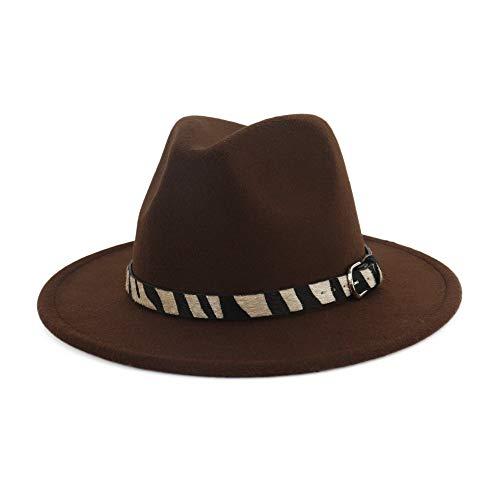 Fengbingl Wide Brim Panama Fedora Cap Mode Breite Flache Krempe Wollfilz Jazz Hut Zebra Gestreiften Hut Woll Western Cowboy Hut Floppy Hut Für Männer Frauen (Farbe : Braun)