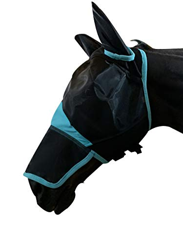 TGW RIDING Horse Mask Full Face Mesh Fly Mask Fine Mesh with Ears and Long Nose (Warmblood, Black/Turquoise)