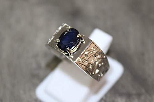 Blue Don't miss the campaign Direct sale of manufacturer Sapphire Ring Men 6x8 mm Ct 2 Heavy Oval Rings