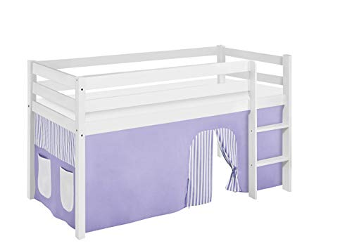Lilokids Spielbett Jelle, Hochbett mit Vorhang Kinderbett, Holz, lila/beige, 198 x 98 x 113 cm