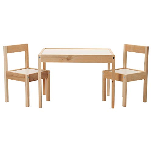 IKEA Lätt Children'S Table and 2 Chairs, White, Pine
