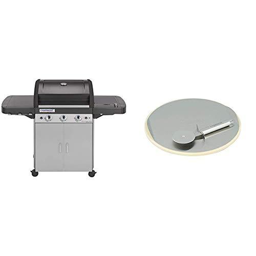 Campingaz 3 Series Classic LS Plus, Barbecue Grill, Nero/Grigio + Campingaz Culinary Modular Pietra per Pizza e Rotella Taglia Pizza, Argento, 32.96x4