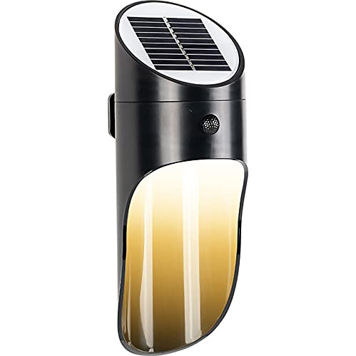 WUBAILI Luz Solar LED, Lámparas De Pared para Exteriores con Sensor De Movimiento PIR, Luces De Porche Exteriores Impermeables Inalámbricas, para Camping, Jardín, Garaje,Negro