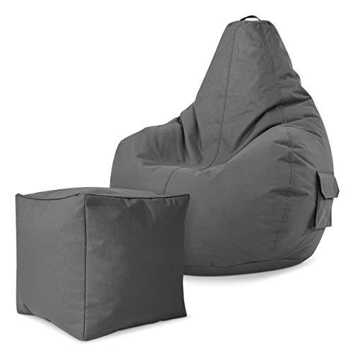 Green Bean Gaming © 2er Sitszack Set - Cozy Sitzsack mit 2 Seitentaschen + Cube Hocker - fertig befüllt - robust, waschbar, schmutzabweisend, wasserfest - für Kinder und Erwachsene - Grau