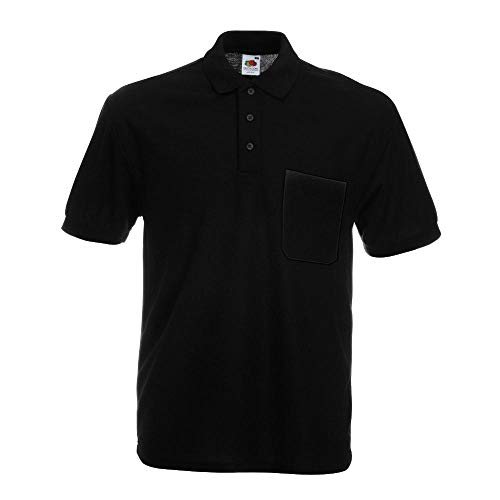 Fruit of the Loom - Pocket Poloshirt 65/35 XXL,Black