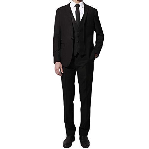 YIMANIE フォーマルスーツ メンズ スリーピース セットアップスーツ ブラックスーツ 一つボタン 二つボタン ビジネス 紳士服 オールシーズン オシャレ カジュアル 礼服 喪服 冠婚葬祭 黒 防シワ スリム 細身