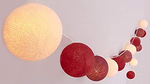 Euch Cadena de luces LED con bola de algodón, incluye temporizador y regulador de intensidad (20 bolas) (Bordeaux)
