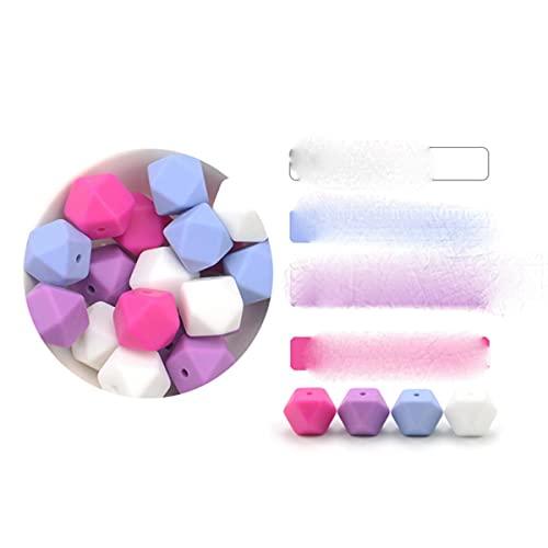 10 Uds cuentas de silicona de grado alimenticio 14mm collar de dentición hexagonal cuentas de dentición de silicona para mordedor de bebé BPA Beads-set 2