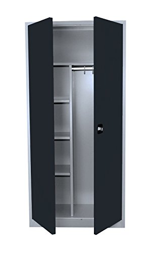 Flügeltürenschrank Kleiderschrank Stahl Lagerschrank Aktenschrank PutzSpind Werkzeugschrank 545528 Anthrazit kompl. montiert und verschweißt