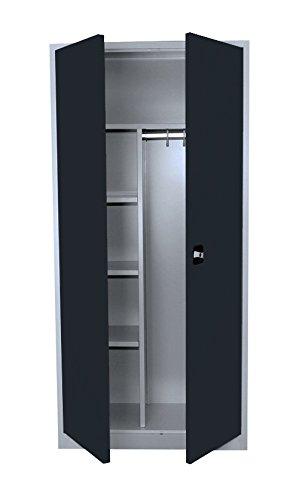 Flügeltürenschrank Kleiderschrank Stahl Lagerschrank Aktenschrank PutzSpind Werkzeugschrank Anthrazit 545548 Maße: 1950 x 920 x 420 mm kompl. montiert und verschweißt
