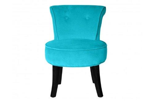 SOLDES - Petit fauteuil crapaud LOUIS Velours turquoise