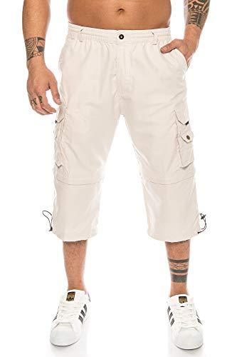 Kendindza Herren Bermuda abnehmbare Beine Zipp-Off von Caprihose 3/4 Knielang in Kurze Sommerhose leicht & Dünn (Beige, M)