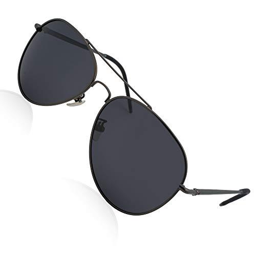 Yveser Polarisierte Sonnenbrille Pilotenbrille für Männer und Frauen Yv1816 (Schwarze Linse/Schwarzer Rahmen)