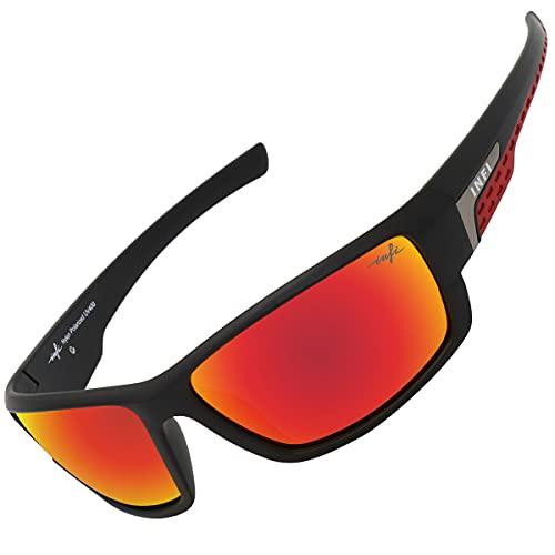 INFI Fishing Polarized Sunglasses for Men and Women Sports Sun Glasses UV Protection (Matte Black / Red)