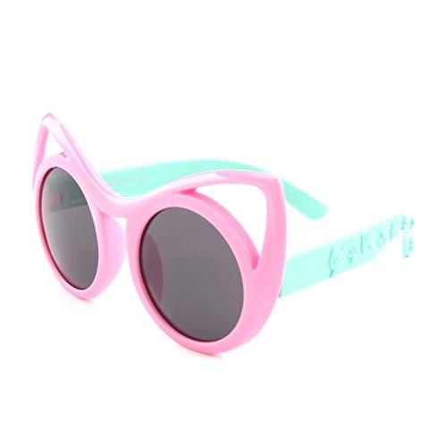 GQUEEN Gummi Flexible Kinder Cateye Polarisierte Sonnenbrille für Jungen Mädchen Baby und Kinder Alter 3-10,ET22