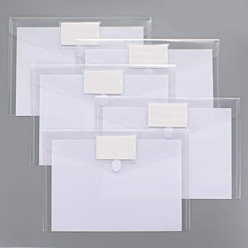 10 Pack Plastic Envelopes Poly Envelopes, Sooez Clear Document Folders US Letter A4 Size File Envelopes with Label Pocket for School Home Work Office Organization, Clear