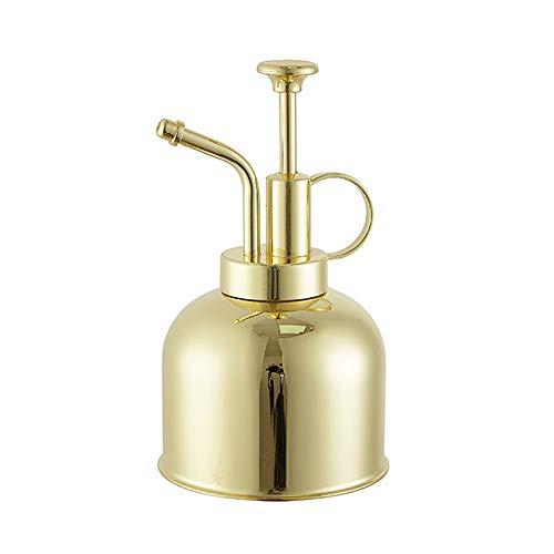 300 ml Retro de latón regadera vintage de acero inoxidable para jardín, flor planta, vaporizador, botella, jardín, maceta, herramienta de riego para la horticultura, plantación (oro)