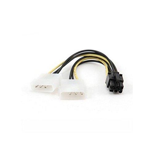 iggual-câble (mannelijk, PCI-e (6 pin-) 2 x 3-pins Molex () rechts zwart/wit/geel)
