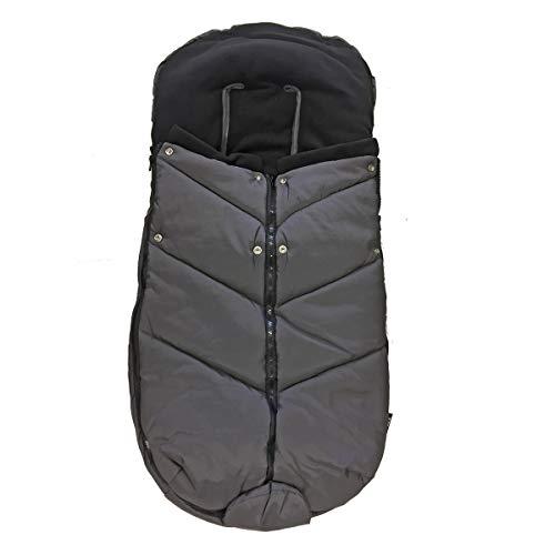 Bozz Ergo donkergrijze universele extra lange dikke fleece gevoerde voetenbank/Cosytoes/Cosybag die past bij alle kinderwagens, kinderstoelen en reissystemen - uitneembare top voor voering