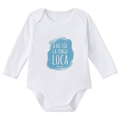 SUPERMOLON Body bebé manga larga A mi tía la tengo loca Blanco algodón para bebé 0-3 meses
