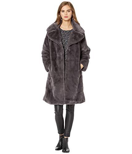 Avec Les Filles Faux Fur Knee-Length Coat Charcoal MD