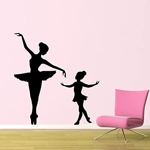Zdklfm69 Pegatinas de Pared Adhesivos Pared Elegante Gran Bailarina pequeña Bailarina niños guardería niñas habitación Vinilo Ballet Arte Interior Mural 84x150cm