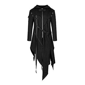 Plus Size Mens Hoodie Jacket Zip Up Buckle Strap Gothic Steampunk Coats Irregular Hem Vintage Outwear Black