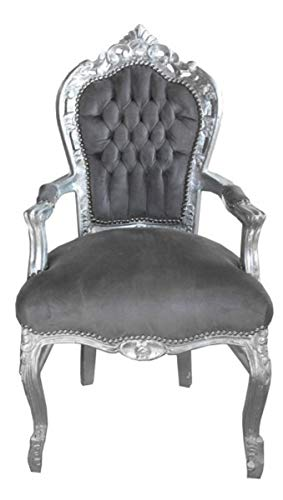 Casa Padrino Barock Esszimmer Stuhl mit Armlehnen Grau/Silber - Möbel Antik Stil