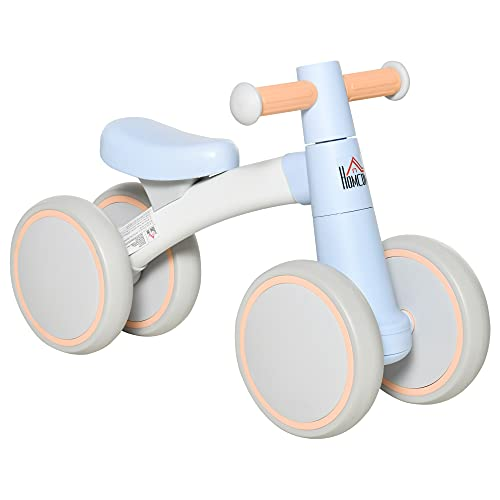 HOMCOM Bicicleta sin Pedales para Niños de 1-3 Años Bicicleta de Equilibrio con 4 Ruedas Ligeras Correpasillos Infantil 60x24x37 cm Azul