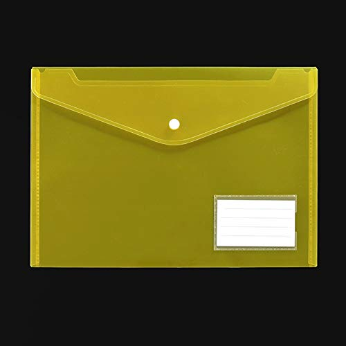 Bolsas de Documentos 50 Pack, carpetas de archivos, carpeta de sobre plástico con cierre a presión, sobres de poli Tamaño A4 con bolsillo de etiquetas, carpetas para documentos, color surtido Bolsa de