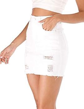 Best white distressed denim skirt Reviews