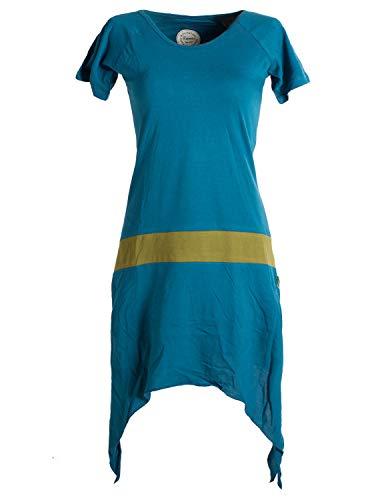 Vishes - Alternative Bekleidung - Einfaches Zipfelkleid mit kurzen Ärmeln aus Biobaumwolle türkis 50