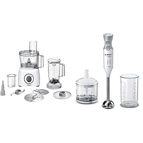 Bosch Mcm3200W Multitalent 3 Robot Da Cucina Compatto, 800W, Bianco/Grigio 375 X 220 X 260Mm & Ergommixx Mixer A Immersione, Frullatore, 600 W, 70 Decibel, Plastica, 12 Velocità, Bianco