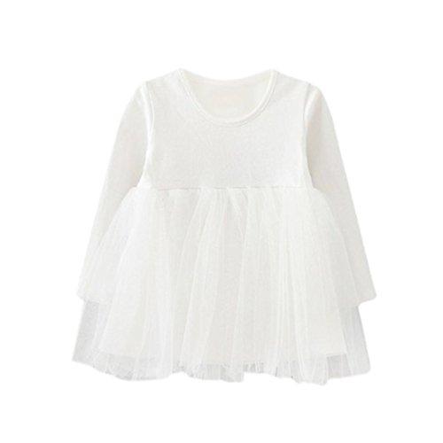 Rawdah Maglietta Lunga del Manicotto dei Neonati di Inverno dei Vestiti dei Vestiti dei Capretti del Bambino dei Capretti dei Principessa della Principessa (0/12 Mesi, Bianco)