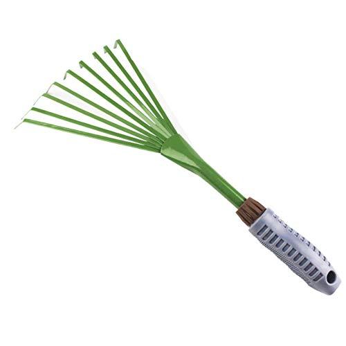 Râteau à main : râteau à main en fil de fer pour ramasser les déchets de jardin, largeur de travail de 16 cm, en acier, poignée ergonomique, protection contre la corrosion