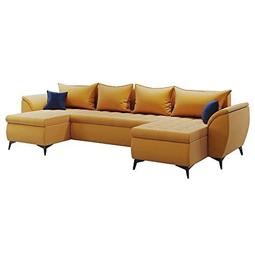 Selsey Glabra U-shaped Corner Sofa Bed Honey