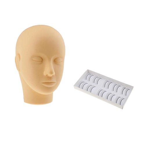 Sharplace Mannequin Doux Tête Plate sans Cheveux pour Extension de Cils Maquillage Formation Maquillage Peinture Pratique de Massage + 10 Paires de Faux Cils