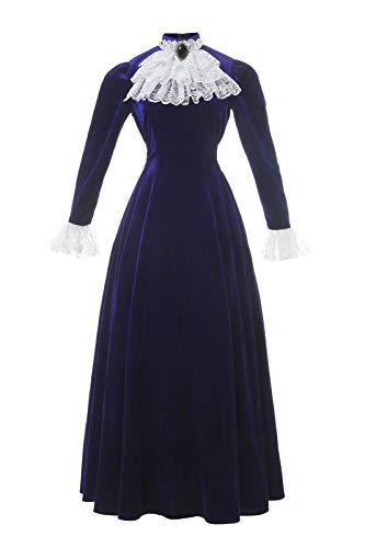 Medieval Victorian Costume Dress Womens Renaissance Ball Gown Retro Court Lace Bow Tie Fancy Maxi Dresses Blue M