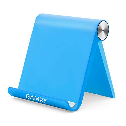 タブレットスタンド 卓上 スマホホルダー 折りたたみ式 iPadスタンド 携帯式 ABS素材 スマホスタンド 角度調整可能 4-12.9インチに対応 滑り止め防止 事務 在宅勤務用 iPad Pro,iPhone 11 Pro Max,Xperia,Huawei mediapad,Galaxy等スマホやタブレットに適用 (ブルー)