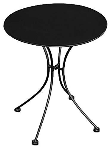 vorghini Tavolino Tondo da Giardino Ø60 cm in Ferro Stresa Nero