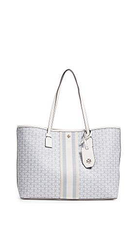 Tory Burch Women's Gemini Link Canvas Tote, New Ivory, Off White, Print, One Size