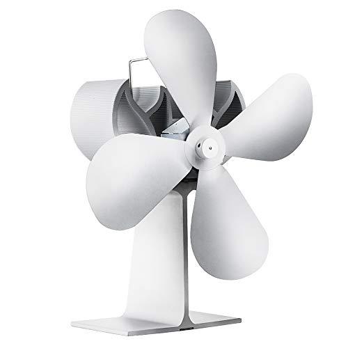 4-Klinge heißer Ofen zum Holz/Log Brenner/Kamin Leise Operation Ventilator - umweltfreundlich 80% Wärmer als 2 Flügelventilator-Weiß