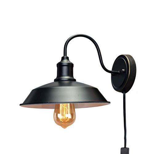 Aplique de Pared Industrial Tradicional con línea de Enchufe Loft de Metal Negro Lámparas de Pared Vintage Granero Interior Retro E27 Iluminación Lámpara de Pared para tocador